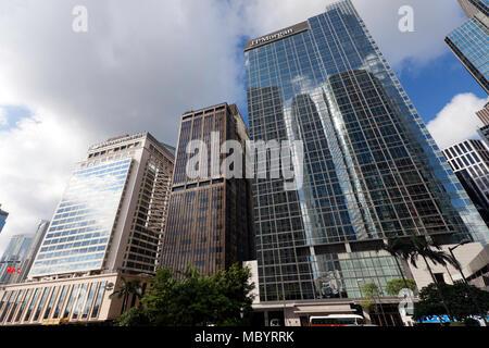 JP Morgan Building, Connaught Road Central,  Hong Kong - Stock Photo