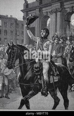 Peninsular War (1807-1814). Napoleonic Wars. General Murat (1767-1815) entry to Madrid, March 23, 1808. - Stock Photo