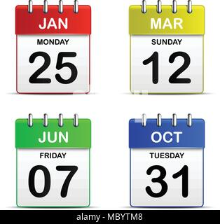Colorful four tear off calendar icon 3d for vector graphic idea design concept - Stock Photo