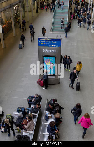 Passengers pass through the main concourse at St. Pancras Station, on 10th April 2018, in London, England. - Stock Photo