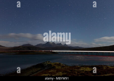 Car light trails on North Coast 500  near Tongue - Stock Photo