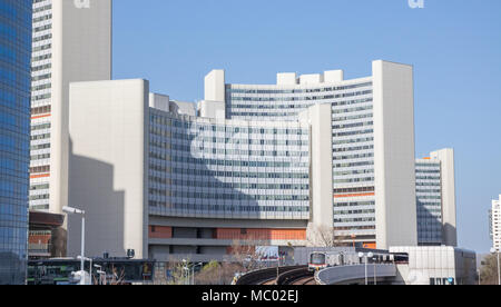 Vienna International Center (VIC), campus and building complex hosting the United Nations Office at Vienna, Vienna Austria April.11,2018 - Stock Photo