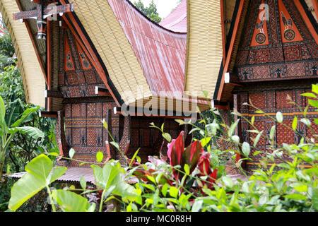 Tongkonans, traditional Toraja houses with massive peaked-roofs, in a Village near Ke'te' Ke'su, Toraja, Sulawesi, Indonesia - Stock Photo