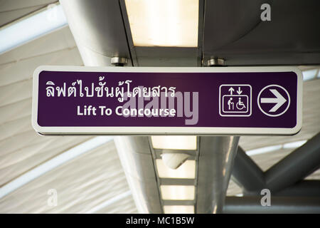 Symbol label lift or escalator for person disabled for moving up and down MRT Purple Line skytrain in Nonthaburi Province, Thailand - Stock Photo
