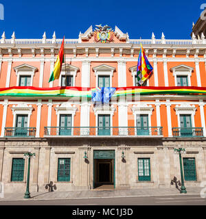 Bolivian Palace of Government (Palacio Quemado), official residence of the President of Bolivia - Stock Photo