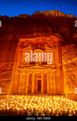 Petra by night, the Treasury Al-Khazneh, Petra, Jordan - Stock Photo