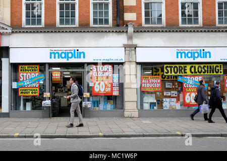 A general view of Maplin shop on Tottenham Court road, central London. - Stock Photo