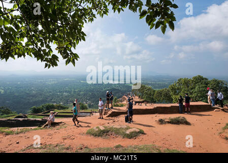 Horizontal view from the top of Sigiriya or Lions Rock in Sri Lanka. - Stock Photo
