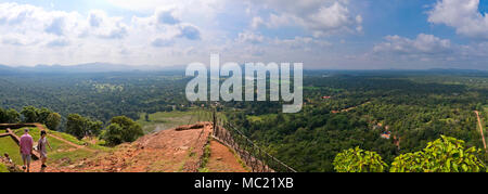 Horizontal panoramic view from the top of Sigiriya or Lions Rock in Sri Lanka. - Stock Photo