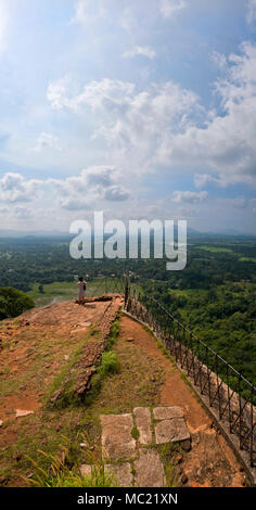 Vertical panoramic from the top of Sigiriya or Lions Rock in Sri Lanka. - Stock Photo