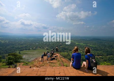 Horizontal view from the top of Sigiriya or Lions Rock in Sri Lanka. - Stock Photo