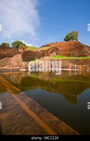 Vertical view of the central bathing pool at the top of Sigiriya or Lions Rock in Sri Lanka. - Stock Photo