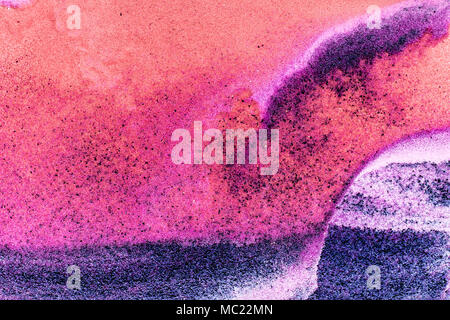 Colorful sand pigments falling down in water. Abstract landscape background. - Stock Photo