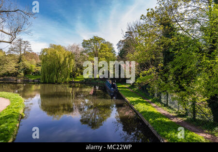 Watford, United Kingdom - April 17, 2014: View of Grand Union Canal , in Cassiobury Park, in London. - Stock Photo