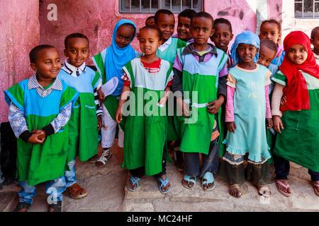 Ethiopian Schoolchildren, Harar, Ethiopia - Stock Photo