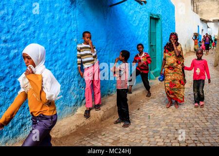 A Colourful Street Scene In The City Of Harar, Harari Region, Ethiopia - Stock Photo