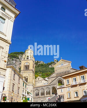 The Amalfi Cathedral dedicated to the Apostle Saint Andrew in the Piazza del Duomo in Amalfi Italy off the coast of Salerno Gulf on the Tyrrhenian Sea - Stock Photo