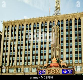 Exterior of the historic Fox Theater in downtown Detroit. The Fox opened in 1928 and continues to operate today, featuring Broadway plays and musicals - Stock Photo