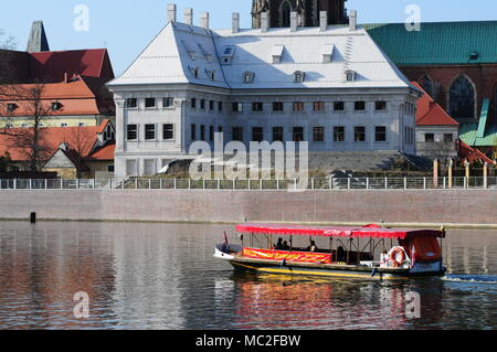 Wroclaw, Poland, April 2018. Tourist boat on the Oder River. - Stock Photo