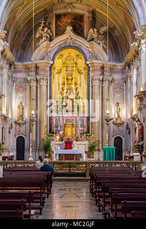 Lisbon, Portugal. Santo Antonio de Lisboa Church interior. Saint Anthony of Lisbon/Padua/Padova birthplace. View of Nave and Chapels in Baroque style. - Stock Photo