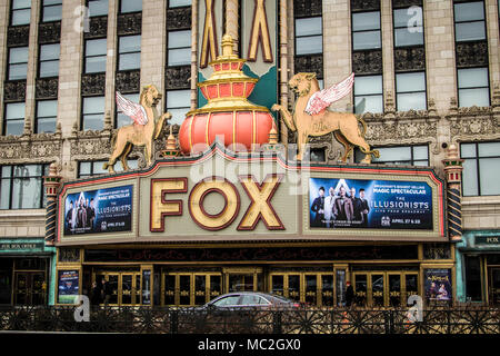 The historic Fox Theater in downtown Michigan opened in the 1920;s and remains in operation today. The historical venue features Broadway plays. - Stock Photo