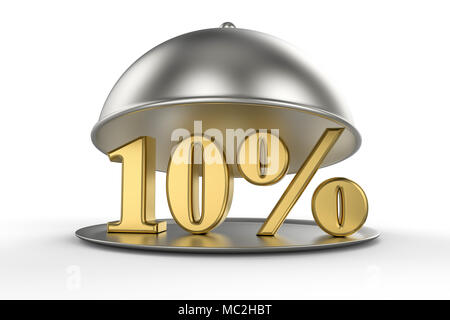 Restaurant cloche with golden 10 percent off Sign on white background. 3D illustration - Stock Photo