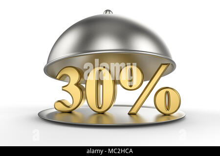 Restaurant cloche with golden 30 percent off Sign on white background. 3D illustration - Stock Photo