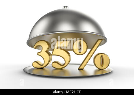 Restaurant cloche with golden 35 percent off Sign on white background. 3D illustration - Stock Photo