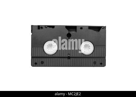 Large picture of an old Video Cassette tape on white background - Stock Photo