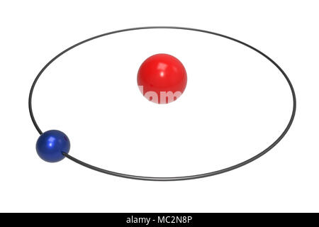 Hydrogen Atom Bohr Model With Proton And Electron 3d Illustration