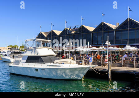Kailis Bros seafood restaurant along the waterfront boardwalk at Fremantle Fishing Boat Harbour Fremantle, Western Australia, Australia - Stock Photo