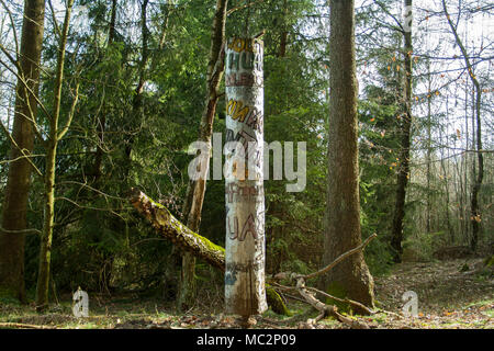 Artwork in german woods, photo was taken in spring - Stock Photo