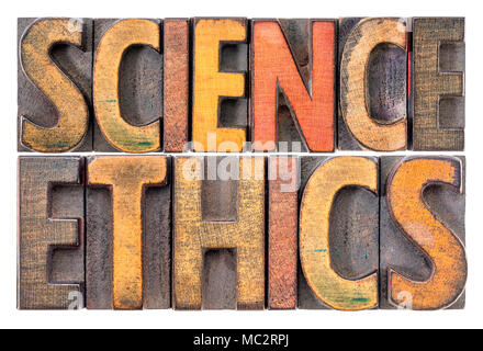 science ethics - isolated word abstract in vintage letterpress wood type printing blocks - Stock Photo