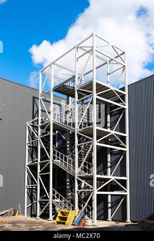 new street metal staircase - Stock Photo