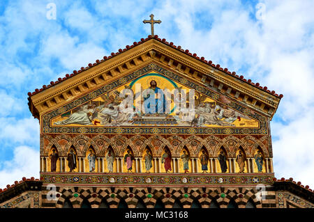 AMALFI, ITALY-MARCH 26, 2018: Amalfi Cathedral is a 9th-century Roman Catholic cathedral dedicated to Apostle Saint Andrew whose relics are kept here. - Stock Photo