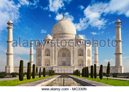 Taj Mahal in sunrise light, Agra, India - Stock Photo