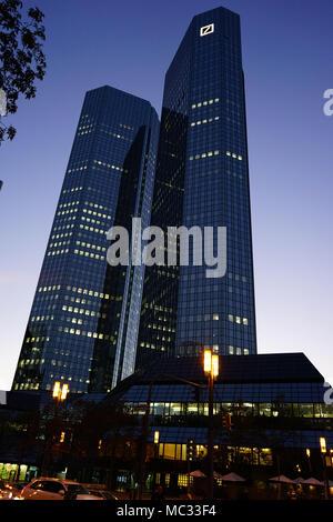 Deutsche Bank company headquarters building,  twin tower skyscraper complex, central business district called Bankenviertel in Frankfurt, Germany - Stock Photo