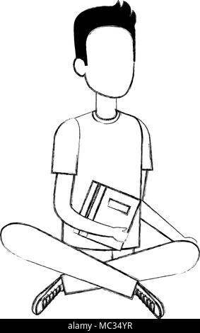 man student sitting on the floor avatar character - Stock Photo
