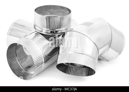 Element of stainless steel flues - Stock Photo
