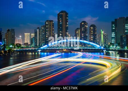 skyline of tsukishima in tokyo at night - Stock Photo