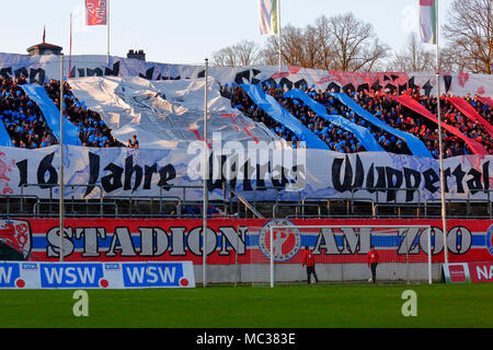 sports, football, Regional League West, 2017/2018, Wuppertaler SV vs Rot Weiss Essen 3:1, choreography of the Wuppertal football fans - Stock Photo