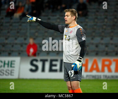 sports, football, Regional League West, 2017/2018, Wuppertaler SV vs Rot Weiss Essen 3:1, scene of the match, keeper Robin Heller (RWE) - Stock Photo