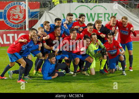 sports, football, Regional League West, 2017/2018, Wuppertaler SV vs Rot Weiss Essen 3:1, rejoicing of the Wuppertal team at the win, derby win, derby winner - Stock Photo