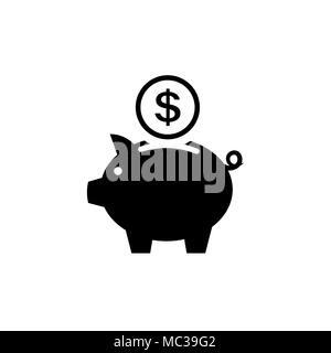Piggy bank icon. Pictograph of moneybox Flat style - Stock Photo