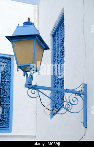 The city Sidi Bou Said, in Tunesia. The city is painted in white and blue for the most part - Stock Photo