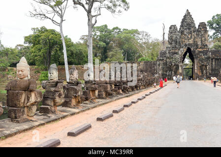 Siem Reap, Cambodia - 11 January 2018: Sculptures of demons at south gate to Angkor Thom in Cambodia. - Stock Photo