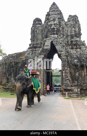 Siem Reap, Cambodia - 11 January 2018: South gate to Angkor Thom in Cambodia - Stock Photo
