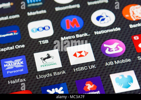 Banking App Icons on a Smartphone - Stock Photo