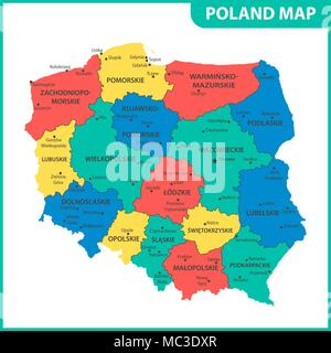 The detailed map of Poland with regions or states and cities, capitals. Administrative division - Stock Photo