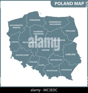 The detailed map of Poland with regions or states - Stock Photo